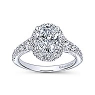 Leonia 14k White Gold Oval Halo Engagement Ring angle 5