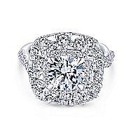 Leslie 18k White Gold Round Double Halo Engagement Ring angle 1