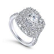 Leslie 18k White Gold Round Double Halo Engagement Ring angle 3