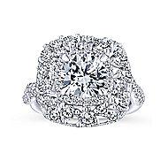 Leslie 18k White Gold Round Double Halo Engagement Ring angle 5