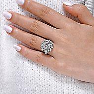Leslie 18k White Gold Round Double Halo Engagement Ring angle 6