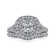Lexie 14k White Gold Cushion Cut Double Halo Engagement Ring angle 4