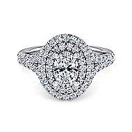 Lexie 14k White Gold Oval Double Halo Engagement Ring angle 1