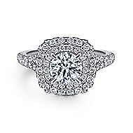 Lexie 14k White Gold Round Double Halo Engagement Ring angle 1