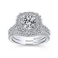 Lexie 14k White Gold Round Double Halo Engagement Ring angle 4