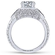 Lexington 14k White Gold Round 3 Stones Halo Engagement Ring angle 2