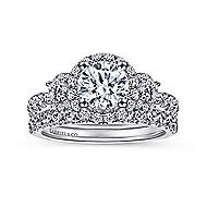 Liana 14k White Gold Round 3 Stones Halo Engagement Ring angle 4