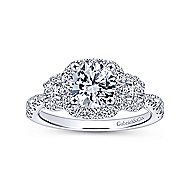 Liana 14k White Gold Round 3 Stones Halo Engagement Ring angle 5