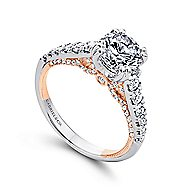 Lily 18k White And Rose Gold Round Straight Engagement Ring angle 3