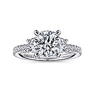 Lincoln 18k White Gold Round 3 Stones Engagement Ring angle 5