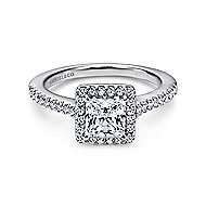Lindsey 14k White Gold Princess Cut Halo Engagement Ring angle 1
