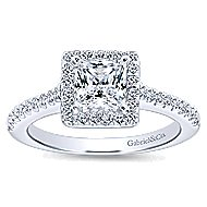 Lindsey 14k White Gold Princess Cut Halo Engagement Ring angle 5