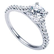 Linen 18k White Gold Round Straight Engagement Ring angle 3