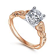 Livingston 18k White And Rose Gold Round Free Form Engagement Ring angle 3