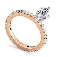 Logan 14k White And Rose Gold Marquise  Straight Engagement Ring angle 3