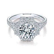 Lois 18k White Gold Round Halo Engagement Ring angle 1