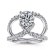 Lola 14k White Gold Round Split Shank Engagement Ring angle 5