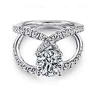 Lola 18k White Gold Round Split Shank Engagement Ring angle 1