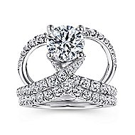 Lola 18k White Gold Round Split Shank Engagement Ring angle 4