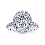 Lolita 18k White Gold Oval Double Halo Engagement Ring angle 5
