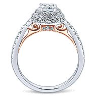 London 14k White And Rose Gold Cushion Cut Double Halo Engagement Ring angle 2