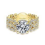 Loretta 18k Yellow Gold Round Halo Engagement Ring angle 1