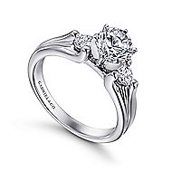 Lorna 14k White Gold Round 3 Stones Engagement Ring