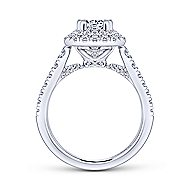 Lotus 14k White Gold Emerald Cut Double Halo Engagement Ring angle 2