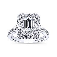 Lotus 14k White Gold Emerald Cut Double Halo Engagement Ring angle 5