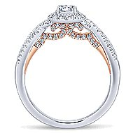 Lourdes 14k White And Rose Gold Round Halo Engagement Ring angle 2