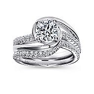 Lucca 14k White Gold Round Bypass Engagement Ring angle 4
