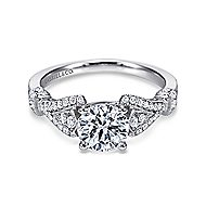Lucille 14k White Gold Round Straight Engagement Ring angle 1