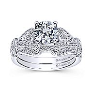 Lucille 14k White Gold Round Straight Engagement Ring angle 4