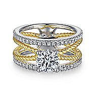 Lucinda 14k Yellow And White Gold Round Twisted Engagement Ring angle 1
