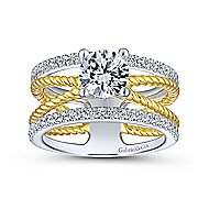 Lucinda 14k Yellow And White Gold Round Twisted Engagement Ring angle 5