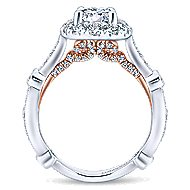 Lucy 14k White And Rose Gold Round Halo Engagement Ring angle 2