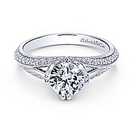 Luella 14k White Gold Round Split Shank Engagement Ring angle 1