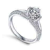 Luella 14k White Gold Round Split Shank Engagement Ring angle 3