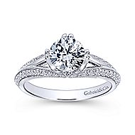 Luella 14k White Gold Round Split Shank Engagement Ring angle 5