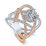 Lumina 18k White And Rose Gold Round Halo Engagement Ring angle 3