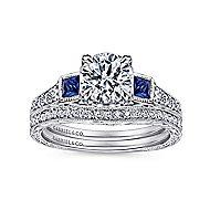 Lunaria Platinum Round 3 Stones Engagement Ring