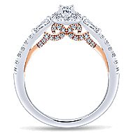 Lux 14k White And Rose Gold Oval 3 Stones Halo Engagement Ring