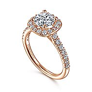 Lyla 14k Rose Gold Round Halo Engagement Ring