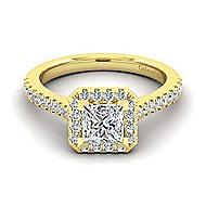Lyla 14k Yellow Gold Princess Cut Halo Engagement Ring