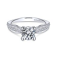 Lynn 14k White Gold Round Straight Engagement Ring angle 1