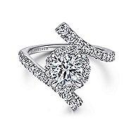 Lyra 14k White Gold Round Halo Engagement Ring angle 1