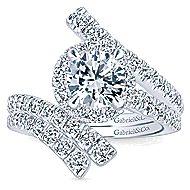Lyra 14k White Gold Round Halo Engagement Ring angle 4