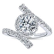 Lyra 14k White Gold Round Halo Engagement Ring angle 5