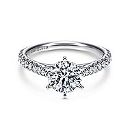 Lyssa 14k White Gold Round Straight Engagement Ring angle 1