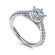 Lyssa 14k White Gold Round Straight Engagement Ring angle 3